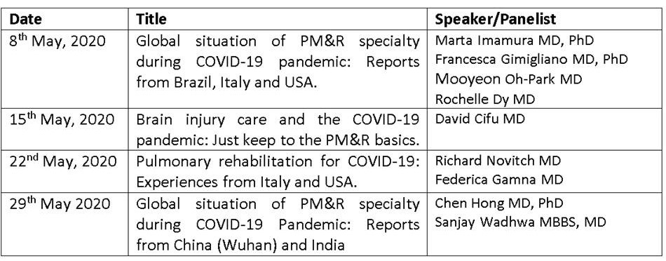 ISPRM Webinar series in May 2020